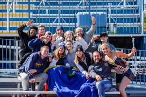 students at game